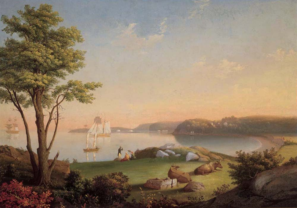 """""""Field Beach, Stage Fort Park."""" ca. 1850. Oil on canvas mounted over board."""