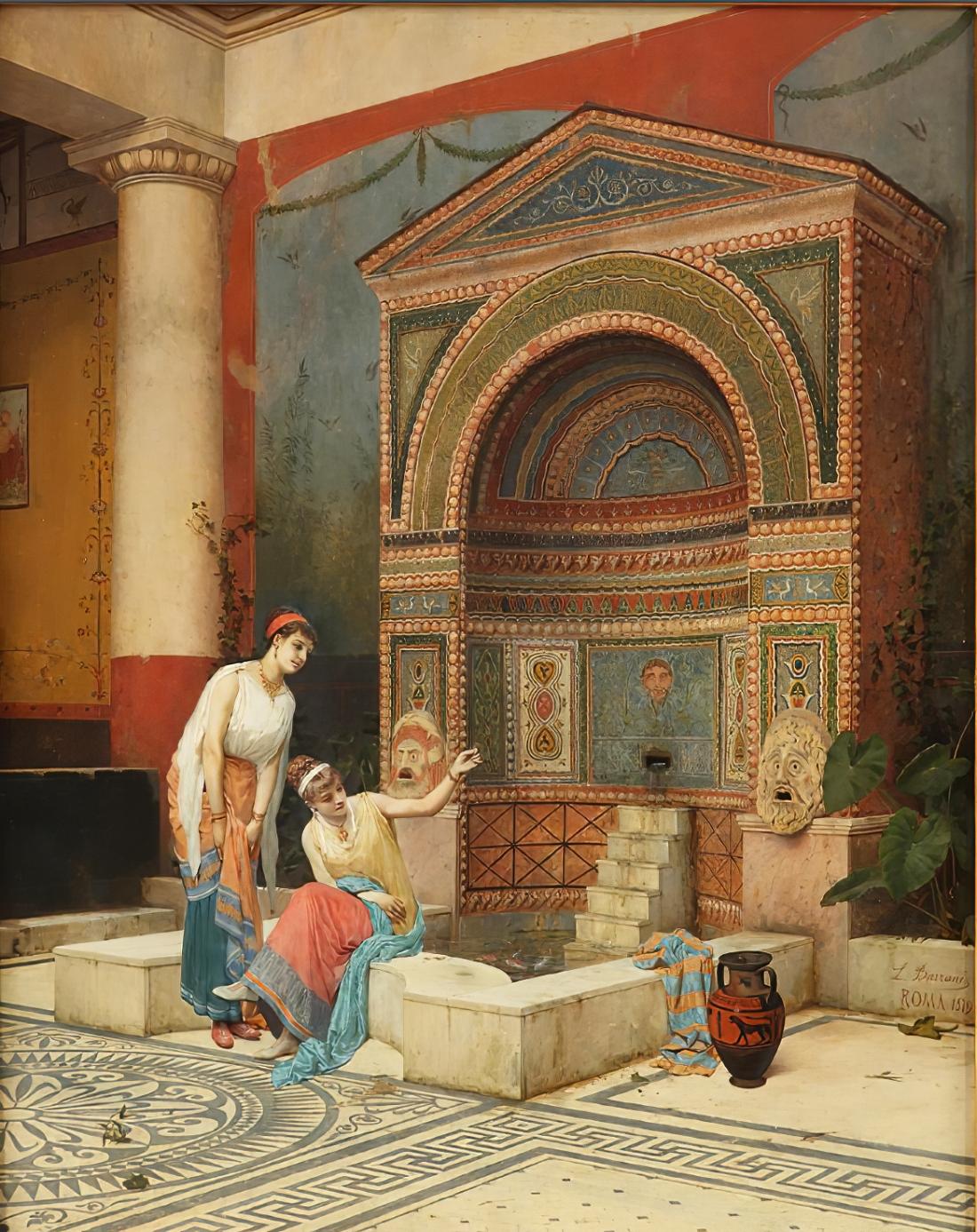 """""""Donne che nutrono pesci in un atrio pompeiano."""" Late 19th c."""