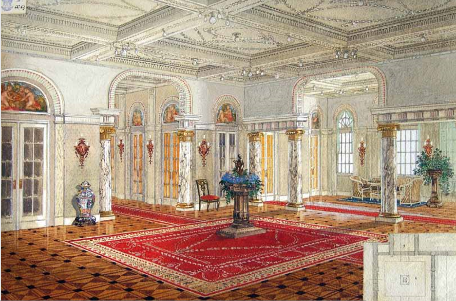 Hall with columns.
