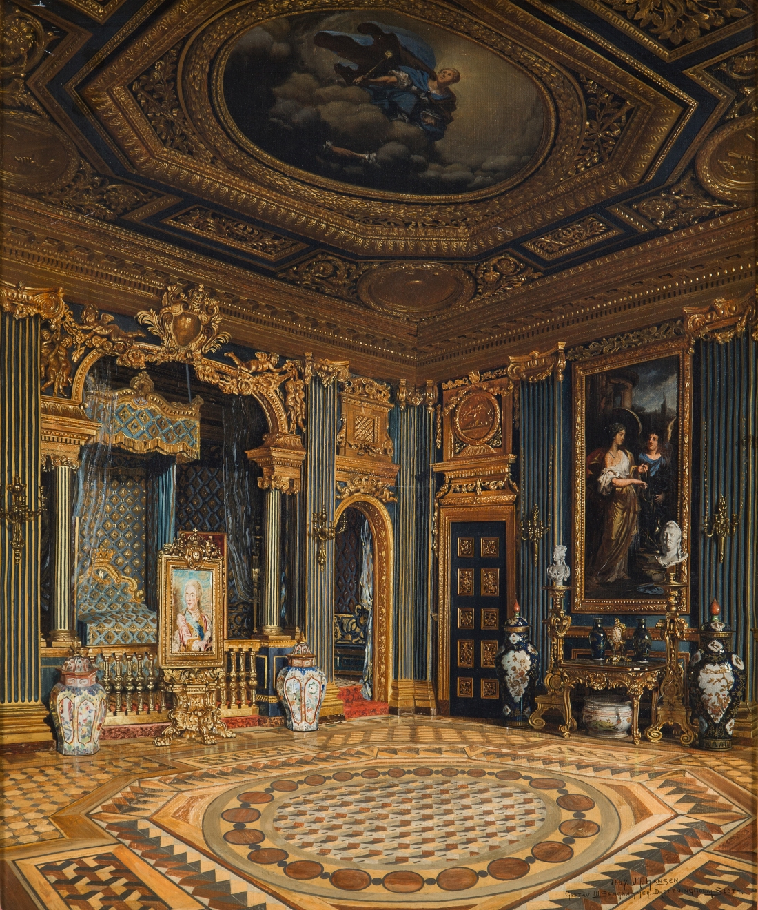 """Gustaf III:s sengkammer Drottnigholms slott."" Signed and dated 1887. Oil on canvas."