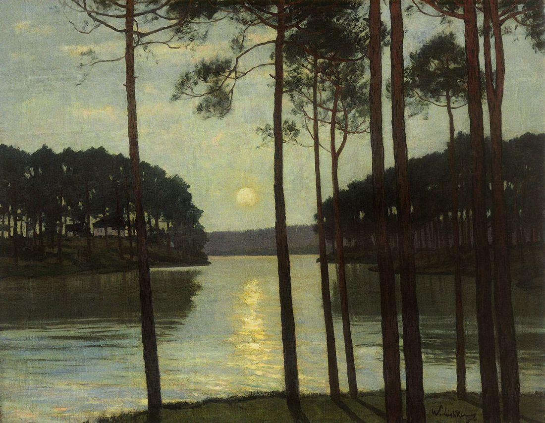 """""""Abendstimmung am Schlachtensee."""" ca. 1895. Oil on canvas."""