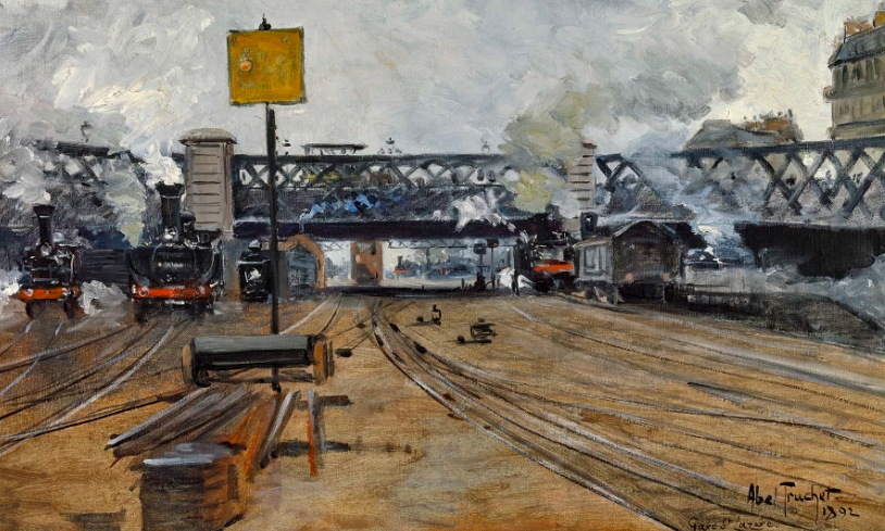 """Gare Saint Lazare."" 1892. Oil on canvas. Signed ""Abel-Truchet"" and dated 1892 on the lower right."