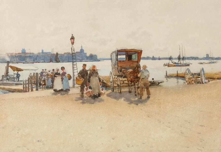 """Arriving from the Ferry."" 1888."