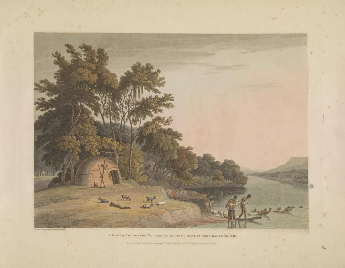 """A Korah Hottentot Village on the Left Bank of the Orange River."" Page 12."