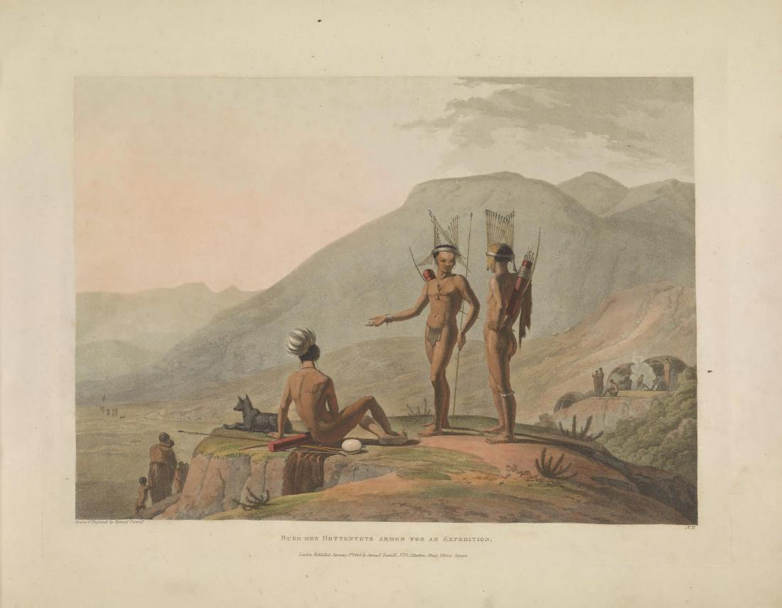 """Bush-men Hottentots Armed for an Expedition."" Page 14."