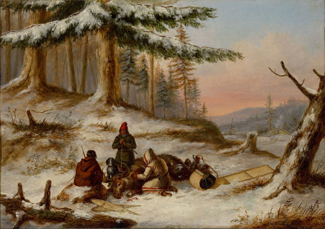 """Moose Hunters."" 1854-1864. Oil on canvast"