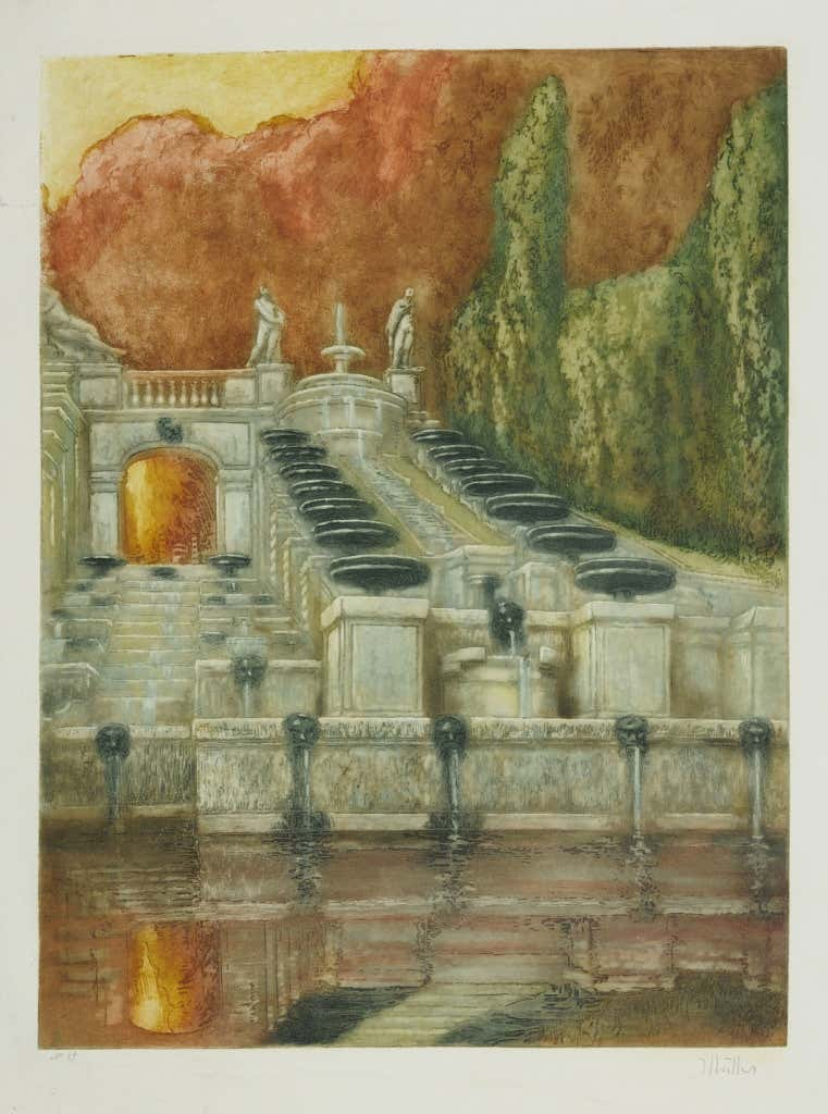 """""""La Grande Cascade de Saint Cloud."""" 1905. Signed by the artist in pencil on the lower right and numbered """"39"""" in pencil on the lower left. Title in pencil on the back. Published by Edmund Sagot, Paris, his dry stamp lower right below signature."""
