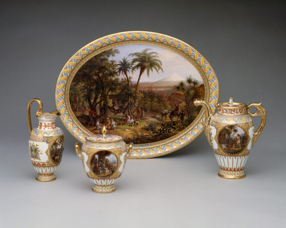 Tray and chocolate set decorated with decorations depicting the cultivation of cacao and the making of hot chocolate. Commissioned by King Louis Philippe for Queen Marie. 1836.
