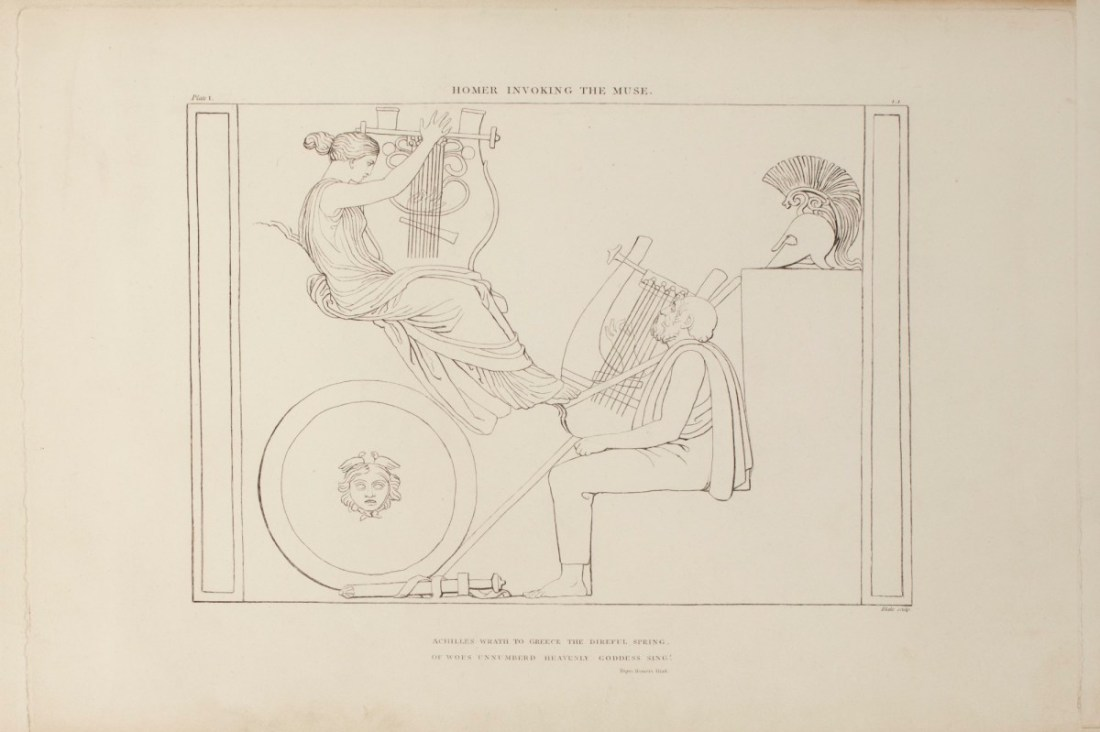 Blake, William; Evans, Robert Harding; Flaxman, John; John and Arthur Arch; Longman, Hurst, Rees and Orme; <I>The Iliad of Homer engraved from the Compositions of John Flaxman R.A., sculptor</I>, London 1805; Homer invoking the Muse