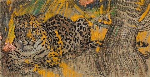"""Leopard."" No date. Colored chalk on paper."