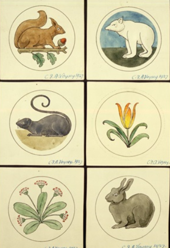 Designs for six circular badges showing animals  and flowers.