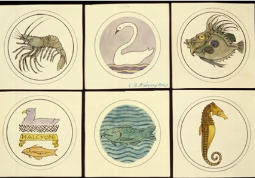 Designs for six circular badges showing sea creatures and birds. 1927. Colored drawing. Signed.