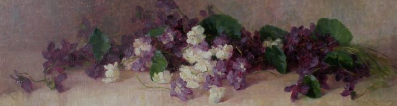 """Violets."" No date. Oil on canvas on board.)"