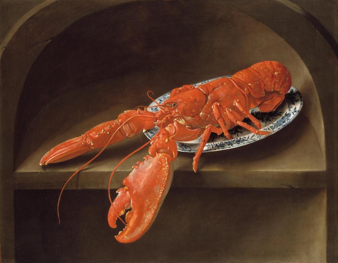 Lobster on a Delft Dish 1738 by Charles Collins c.1680-1744