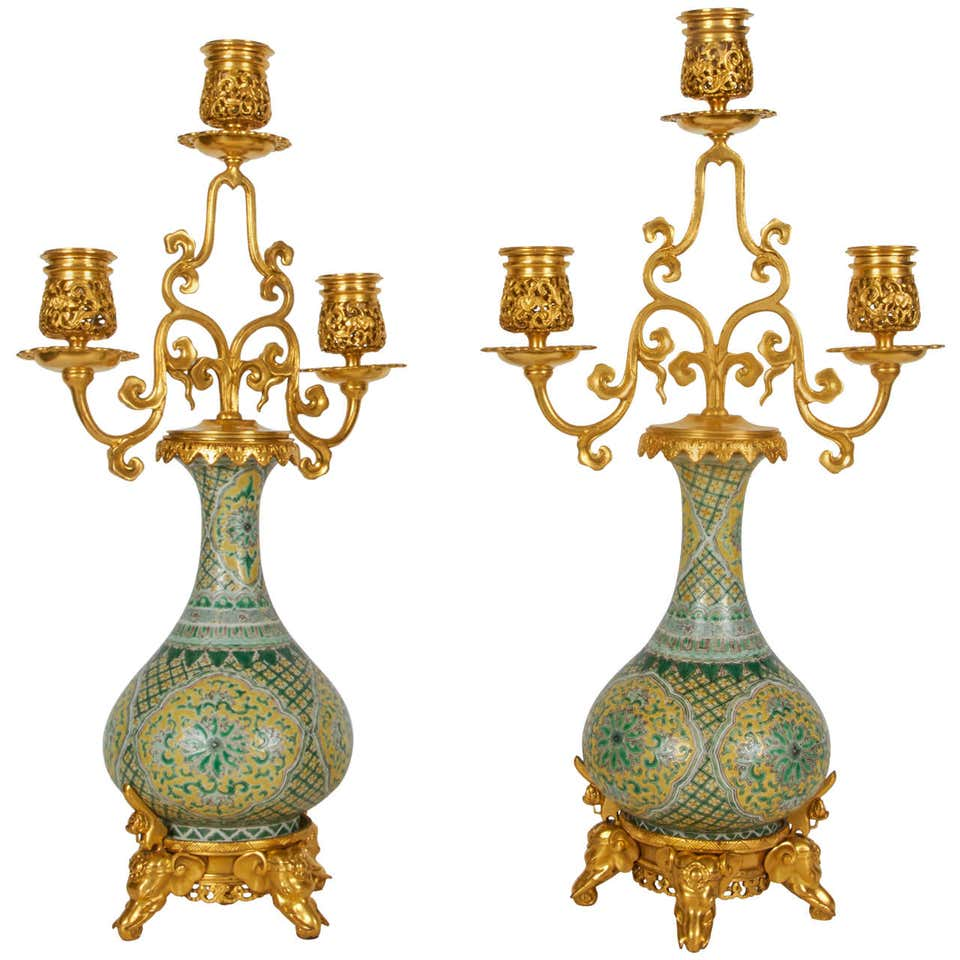 Bronze candelabra made with antique French doré bronze and Chinese Export porcelain. Orientalist.