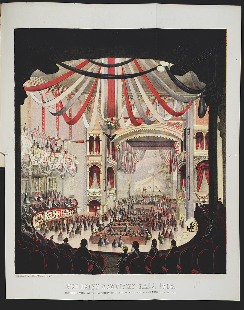 Interior view of the Academy of Music during the 1864 Brooklyn Sanitary Fair, as seen from the dress circle.
