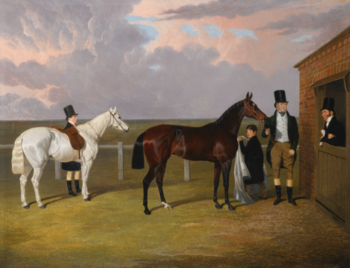"""Sir Mark Wood with his dark brown filly Vespa, winner of the Oaks in 1833, her trainer H. Scott and a Groom with a gray hack."""