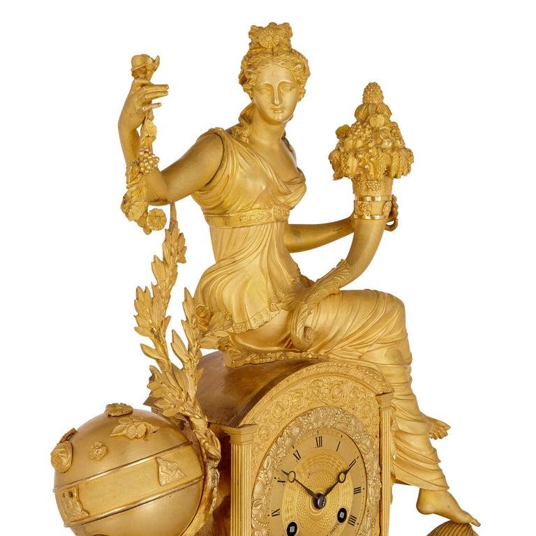Mantel clock (Goddess Pomona, the Roman goddess of harvest and abundance detail).