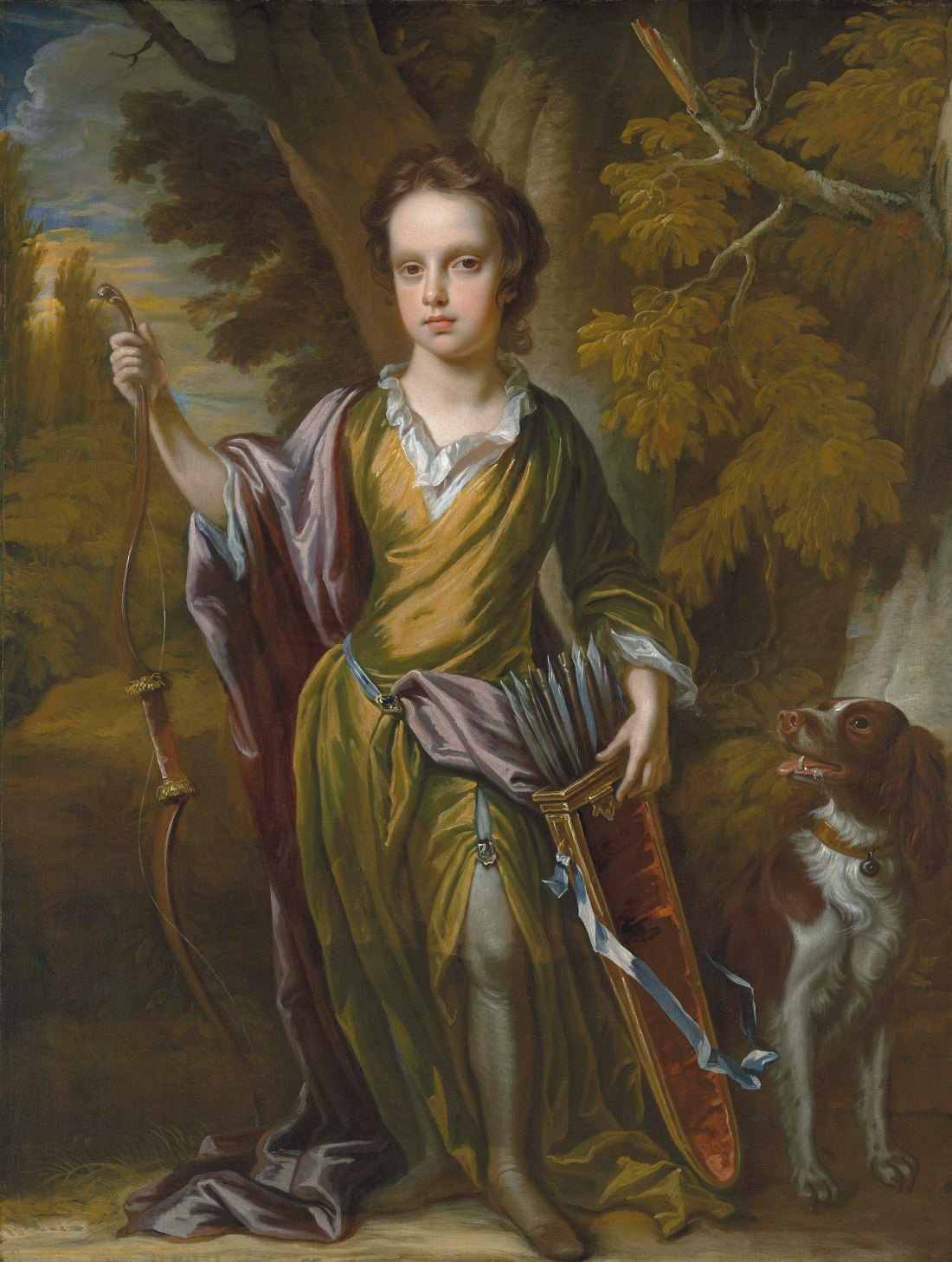 """Portrait of David Papillon (1691-1762), full-length, with a bow and arrows and his dog, in a landscape."" ca. 1700. Oil on canvas."