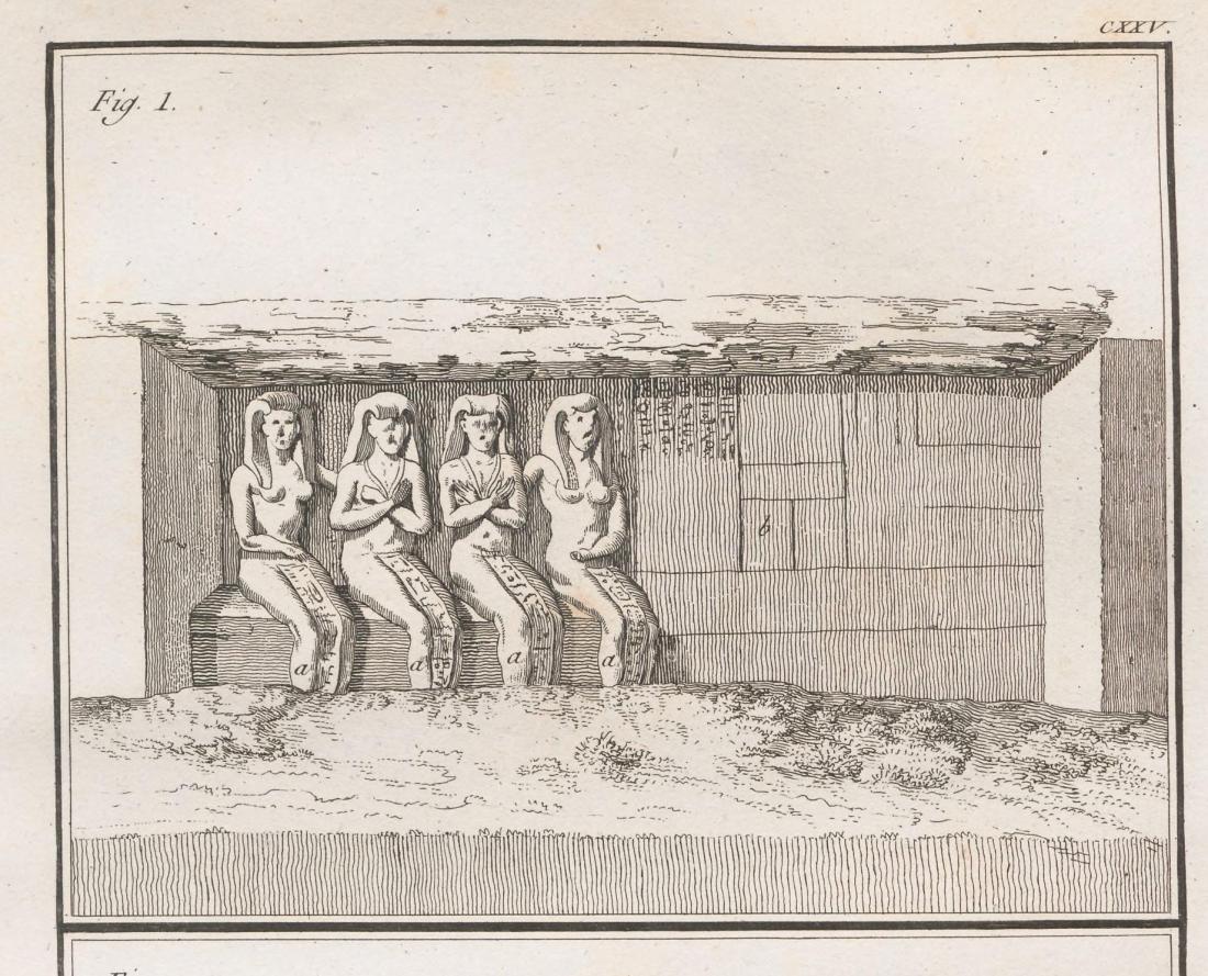 """""""Le dedans d'une grotte à Tschibel Esselsele."""" a) Statues de grandeur naturelle."""" Page 430 (detail)."""