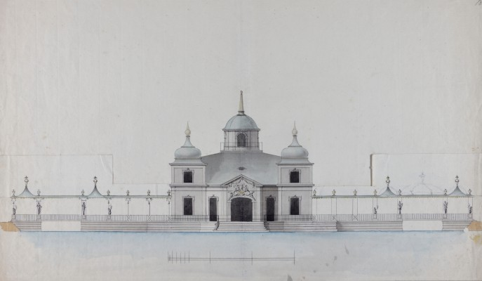 """Northern elevation of the Royal Lazienki with Chinese porches."" ca. 1788."