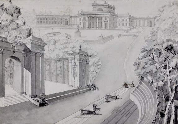 """View from the Ampitheatre of the Palace with the Planned West Wing."" ca. 1792."