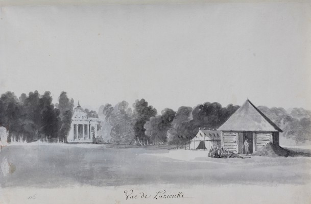 """View of the Palace on the Isle from the Southern Side, with a Wooden Guardhouse and Tent in the Foreground."" 1784."