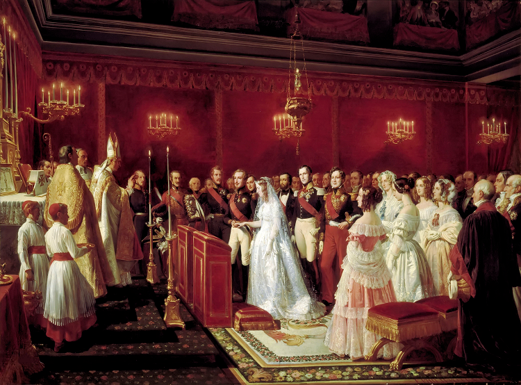 8 Félix Henri Emmanuel Philippoteaux Marriage of the Duc de Nemours and the Princess of Sax-Coburg-Gotha, in the chapel of the castle at Saint-Cloud, 27 April 1840 1847