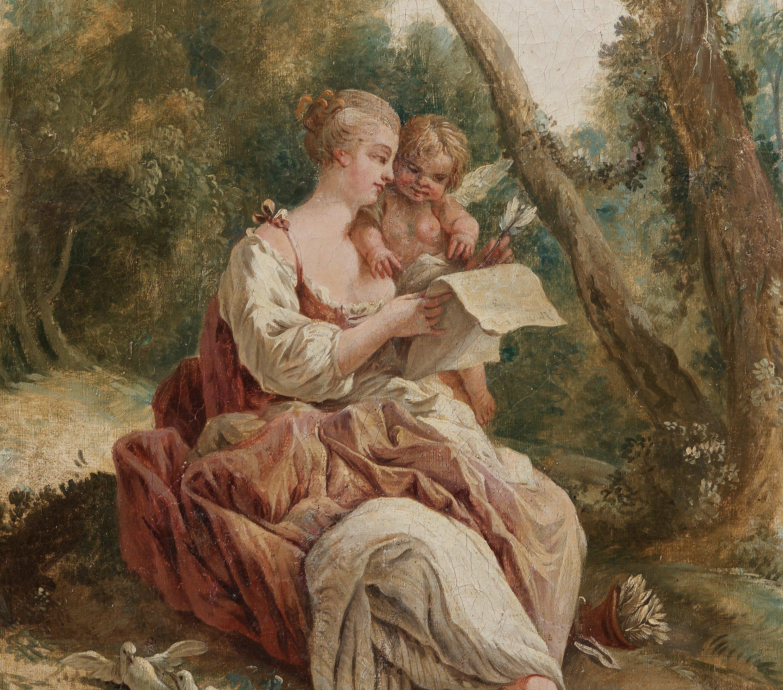 Pastoral scene with reading shepherdess. 18th c.