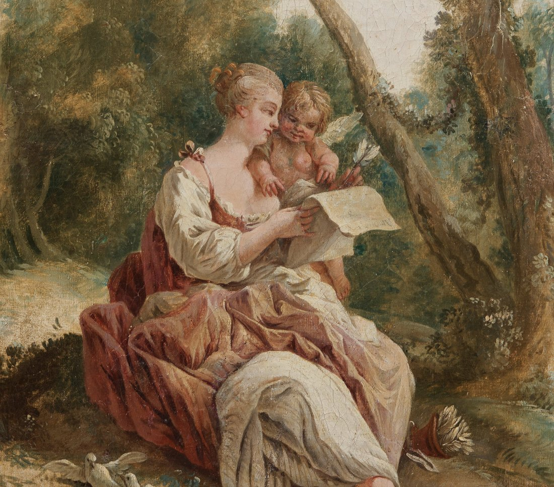 Pastoral scene with reading shepherdess. 18th c.