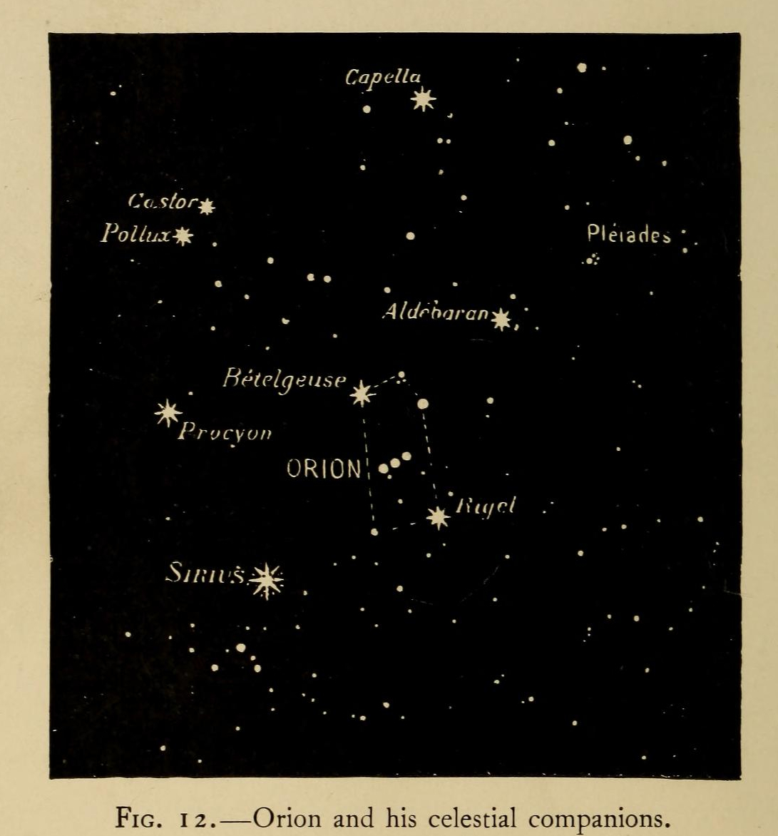 """""""Orion and his celestial companions."""" Figure 12. Page 48."""