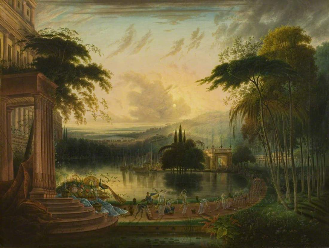 Colman, Samuel, 1780-1845; A Romantic Landscape with the Arrival of the Queen of Sheba