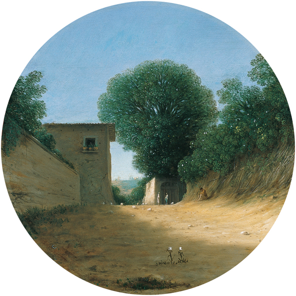 'Country_Road_by_a_House',_oil_on_copper_painting_by_Goffredo_(Gottfried)_Wals