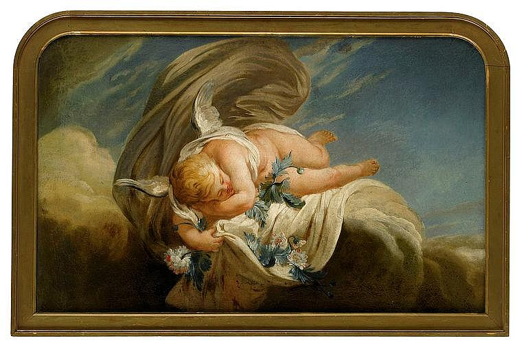 Door cover with a mythological motif of a putti sleeping on clouds.