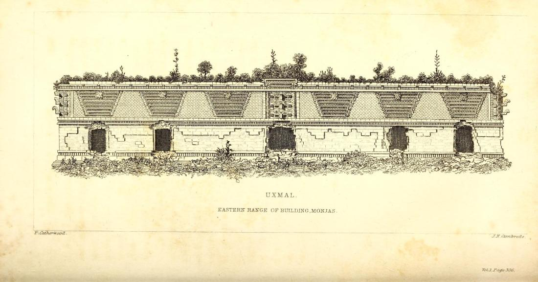 """Eastern Range of building Monjas, Uxmal."" Page 338."