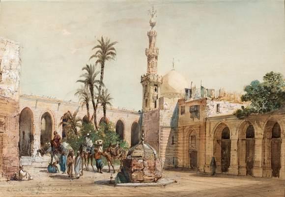 LOUIS-AMABLE-CRAPELET-(1822-1867)-LA-MOSQUEE-DU-SULTAN-BARCKOUK-AU-CAIRE.-AQUARELLE&HELLIP- (1)