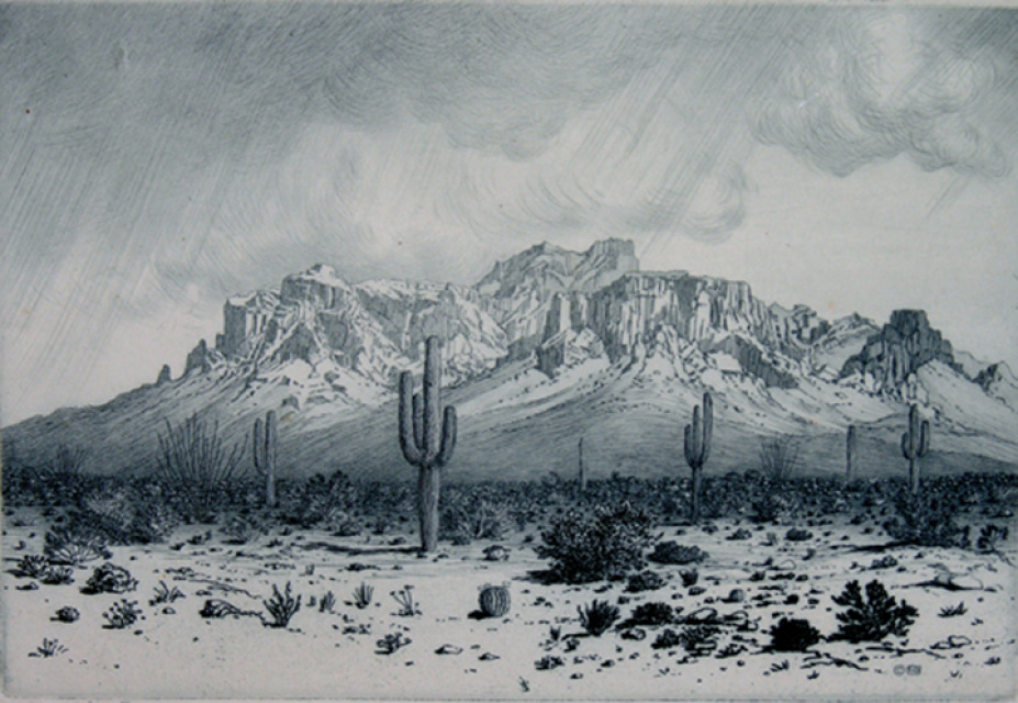 """Superstition Mountain - Apache Trail - Arizona."" 1926. Etching."