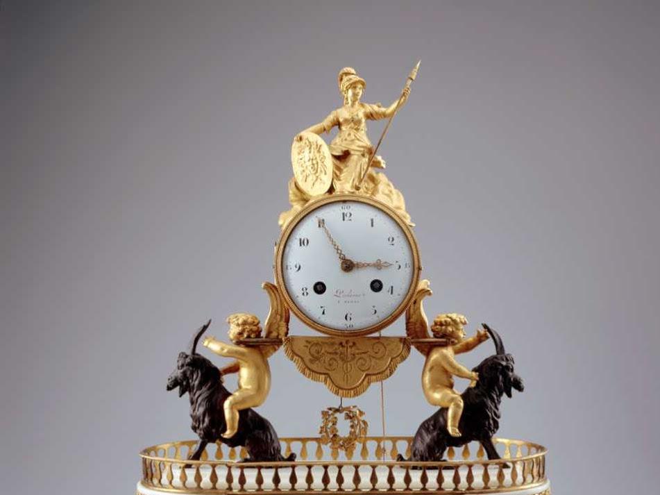 Mantel clock (putti and goddess detail). 1780-1800.