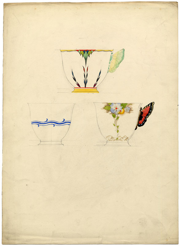 Three teacups, two with handles in the motif of butterflies.