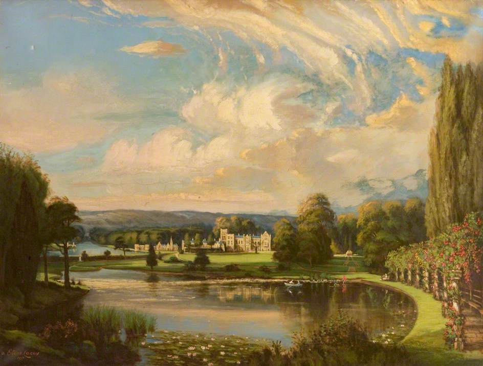 Lacey, Elias, b.1871; South Front and Lake of Newstead Abbey, Nottinghamshire