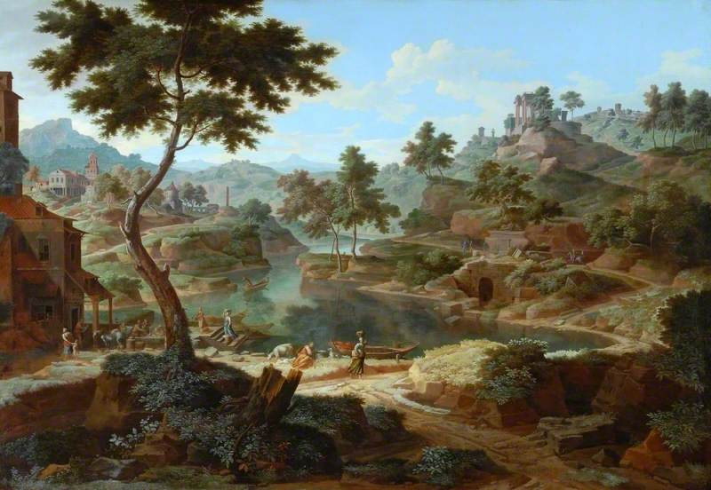 Allegrain, Etienne, 1644-1736; Classical Landscape with Figures and Ruins