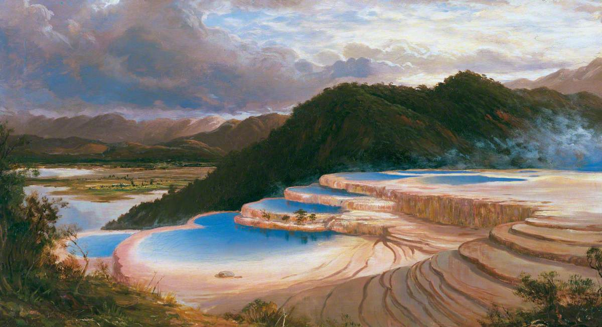 Blomfield, Charles, 1848-1926; The Pink Terrace at Rotomahana, North Island, New Zealand