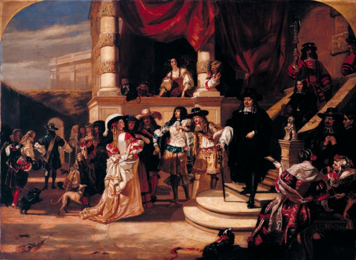 The Disgrace of Lord Clarendon, after his Last Interview with the King - Scene at Whitehall Palace, in 1667 (replica) 1846 by Edward Matthew Ward 1816-1879