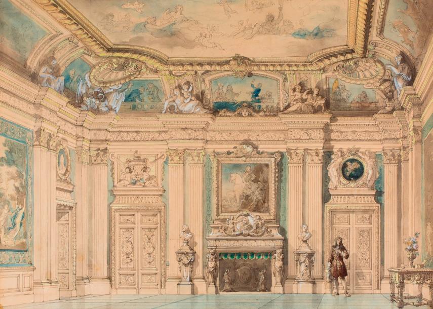 ATTRIBUE-A-JULES-PIERRE-MICHEL-DIETERLE-(PARIS-1811-1889)-_PROJET-DE-DECOR-_PLUME&HELLIP-