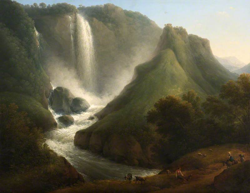 Schonberger, Lorenz Adolf, 1768-1847; Landscape with a Waterfall