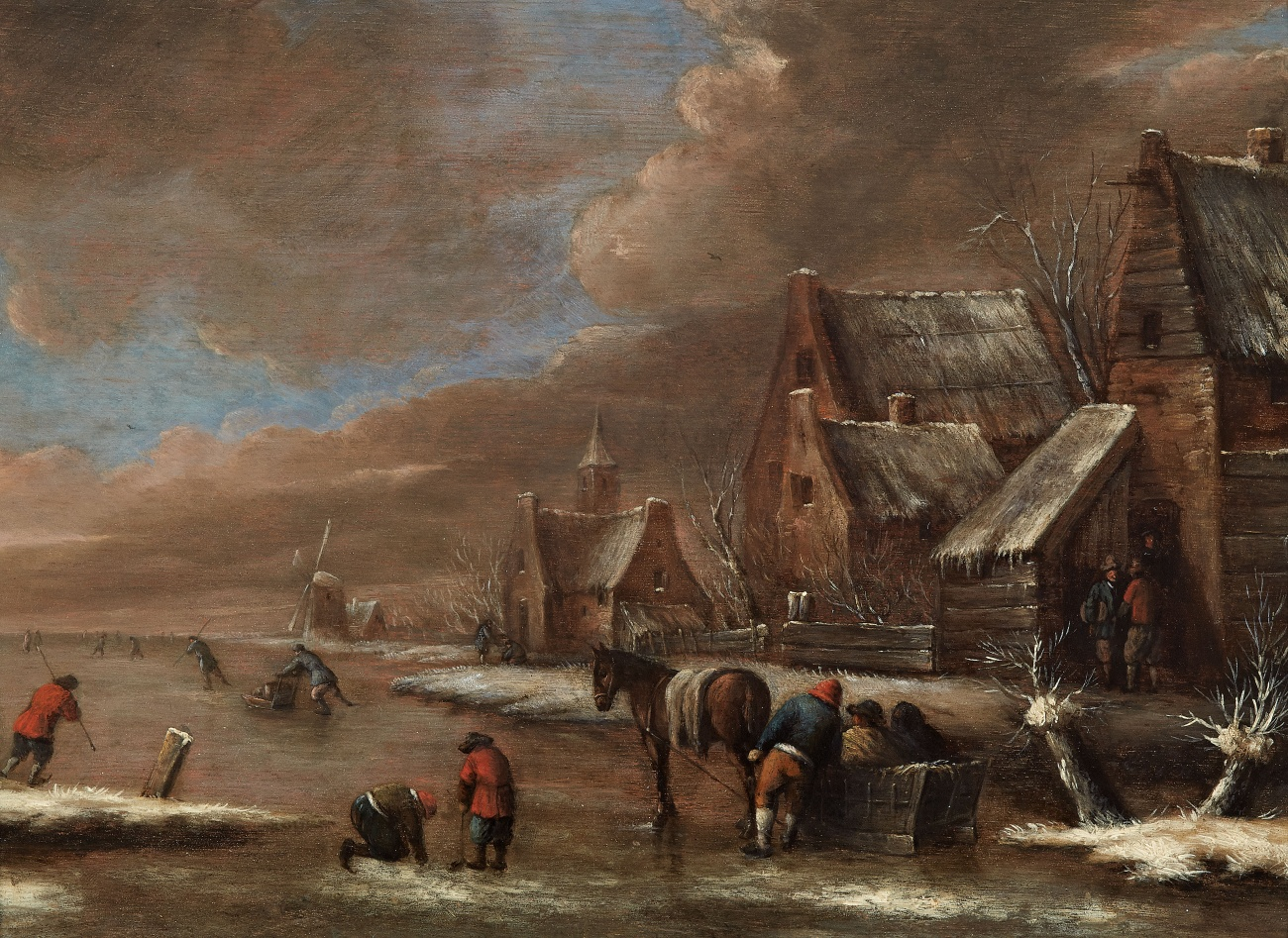 Lempertz-1074-70-Paintings-15th-19th-C-Nicolaes-Klaes-Molenaer-Village-Winter-Landscape-with-Ice-Skaters