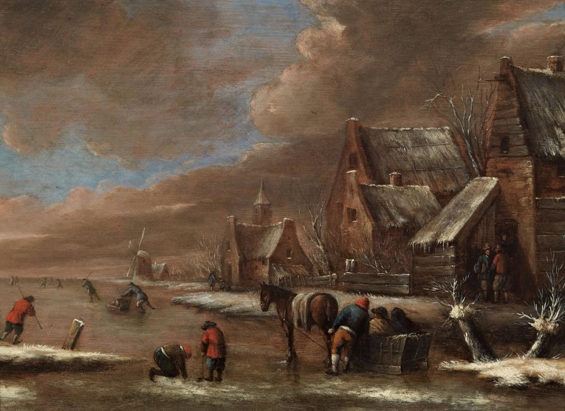 Lempertz-1074-70-Paintings-15th-19th-C-Nicolaes-Klaes-Molenaer-Village-Winter-Landscape-with-Ice-Skaters