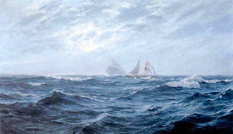 William_Ayerst_Ingram_-_Sailing_Ship_At_Sea