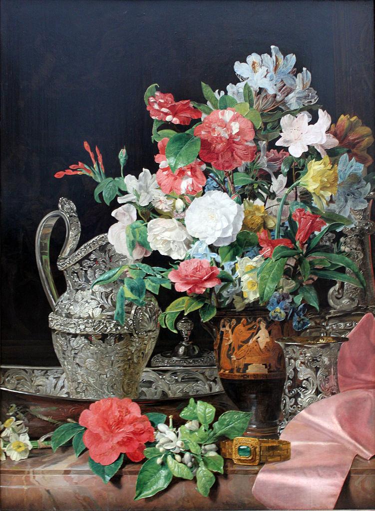 1840_Waldmüller_Blumenstrauß_mit_Silbergefäßen_und_antiker_Vase_anagoria