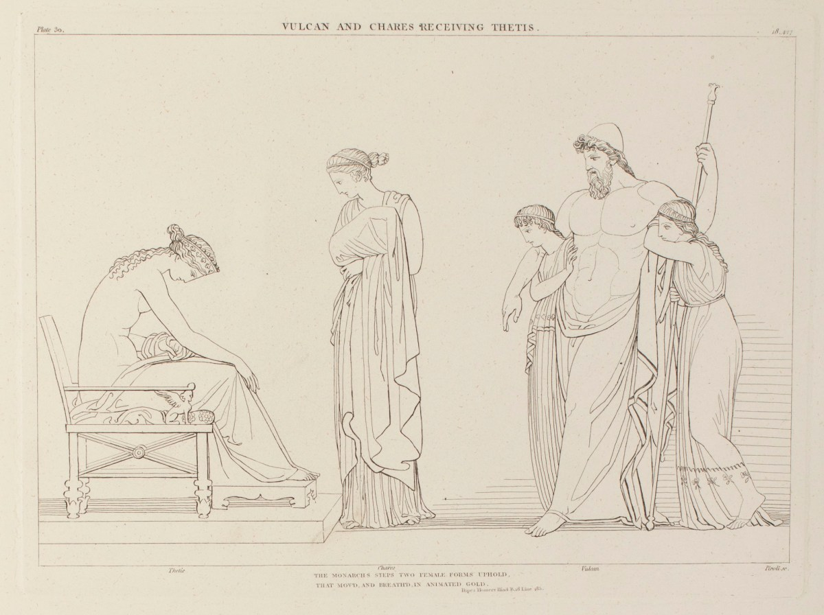 Evans, Robert Harding; Flaxman, John; John and Arthur Arch; Longman, Hurst, Rees and Orme; Piroli, Tommaso; <I>The Iliad of Homer engraved from the Compositions of John Flaxman R.A., sculptor</I>, London 1805; Vulcan and Chares Receiving Thetis